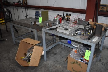 Lot of (2) Metal Tables w/ contents