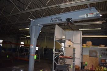 Jib Crane w/ Trolley, 2 Metric Tons cap. w/ 2-Ton Coffing Electric Hoist
