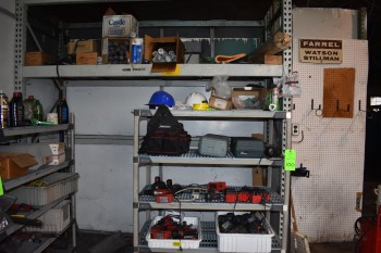 Portable Shelving unit w/ Contents, New Grease Tubes, Misc. Electrical