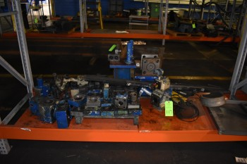 Lot of Misc. Hydraulic Parts, Steel Tote, (2) Metal Bins