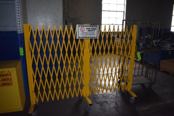 Scissor Safety Gate, Portable w/ Metal Cart & Speakers