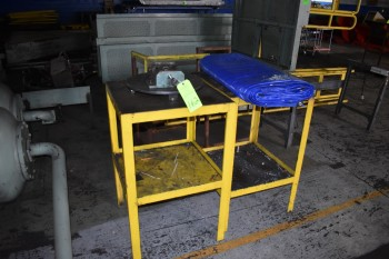Lot of (2) Steel Tables w/ Tarp & Fixture