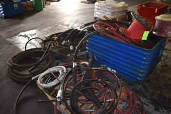 Steel Tote w/ Misc. Pneumatic and Hydraulic Hoses