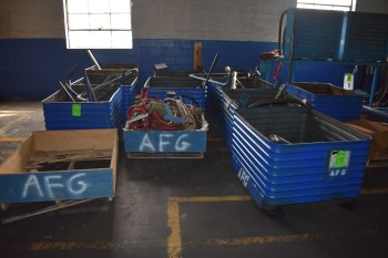 Lot of (10) Metal Totes w/ Used Hydraulic parts, Thermal Transfer unit