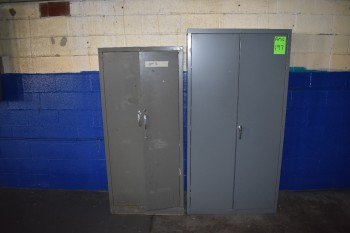 Lot of (2) Vertical Metal Shop Cabinets