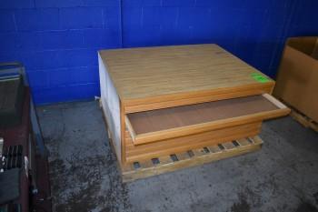 Wood, Blue Print Cabinet