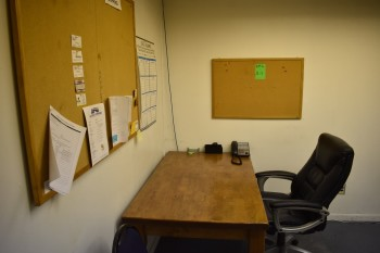 Office w/ Contents, Desk, (2)Chairs, Shelving unit, Cork Boards