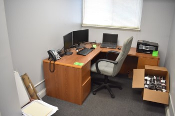 Executive Desk, Chair & Corkboard
