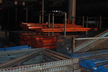 Pallet Racking, 130 End Racks, 120 Orange Rails, 170 Blue Rails
