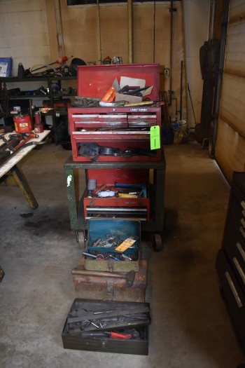 Lot of CraftsmanTool boxes w/ contents, Steel Rolling Cart