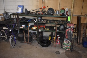 Rack w/ Automotive Contents, Barrel Pumps, Bicycle etc.