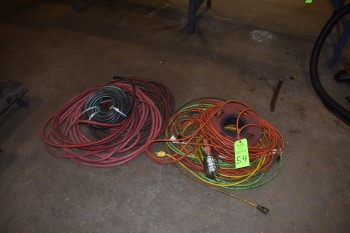 Lot of (2) Wood Dolly\'s, Extension Chords, Pneumatic Hoses