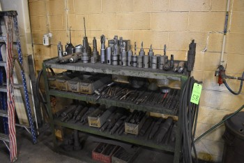 Rack w/ contents, Forsdick Tooling, Drills, Chucks, Oil cans