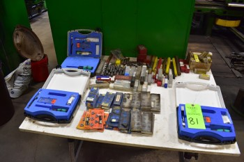Lot of Misc. Boring Mill tooling, Tables, Jack Screws, Drills