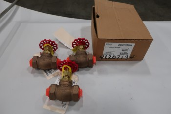 LOT OF 3 125SUL RANDLEMAIN 1IN GLOBE VALVES